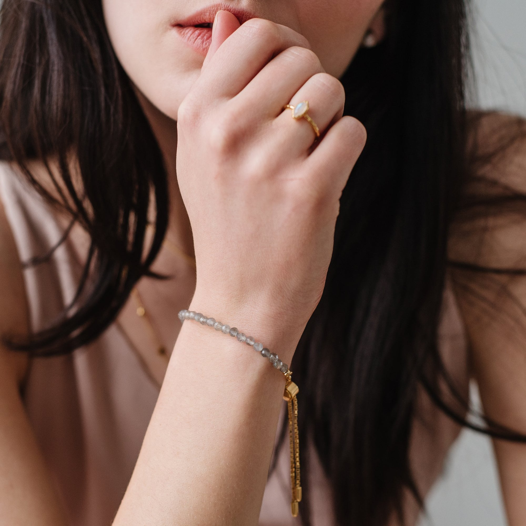 ICONIC ADJUSTABLE BRACELET - LABRADORITE & GOLD - SO PRETTY CARA COTTER
