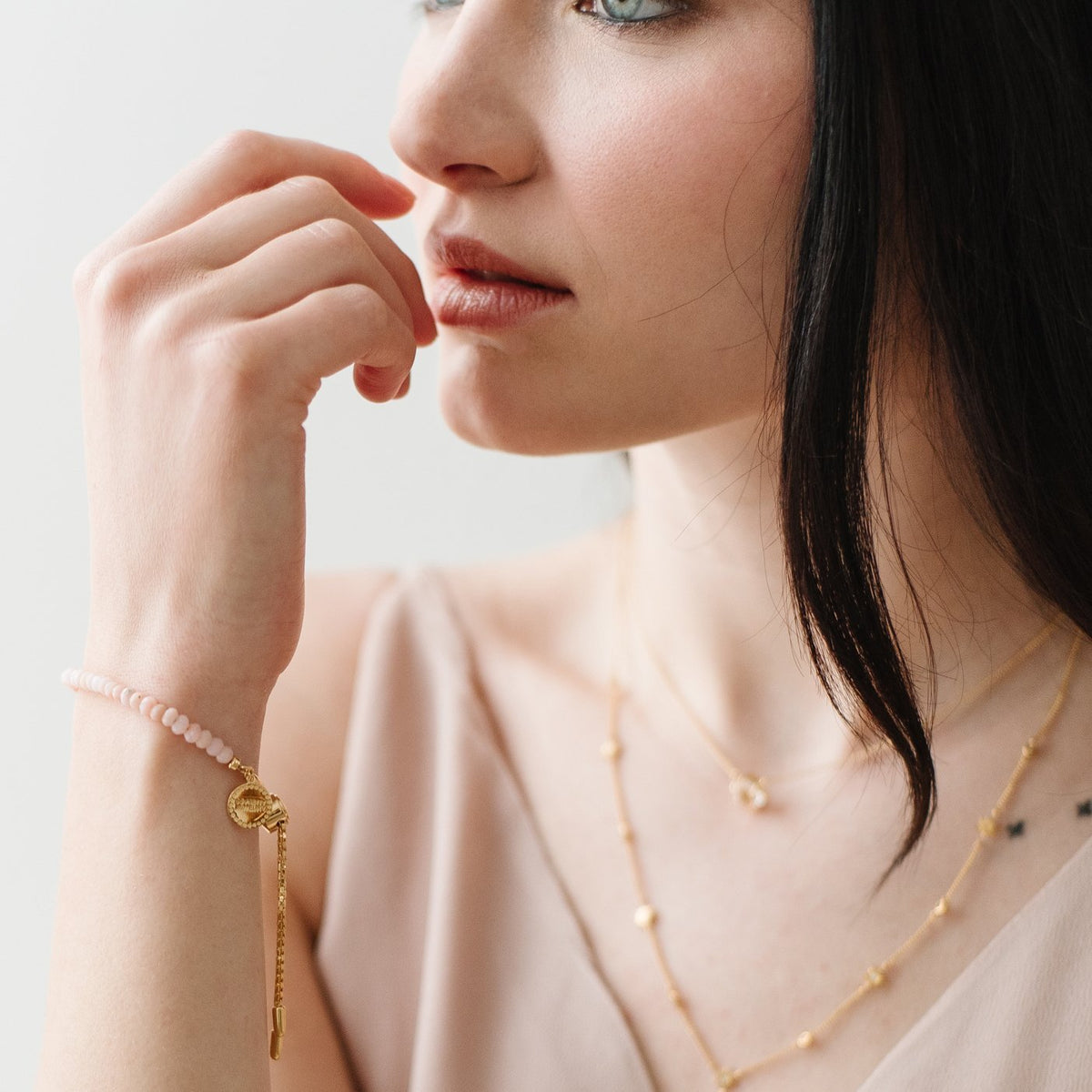 ICONIC ADJUSTABLE BRACELET - PINK OPAL & GOLD - SO PRETTY CARA COTTER
