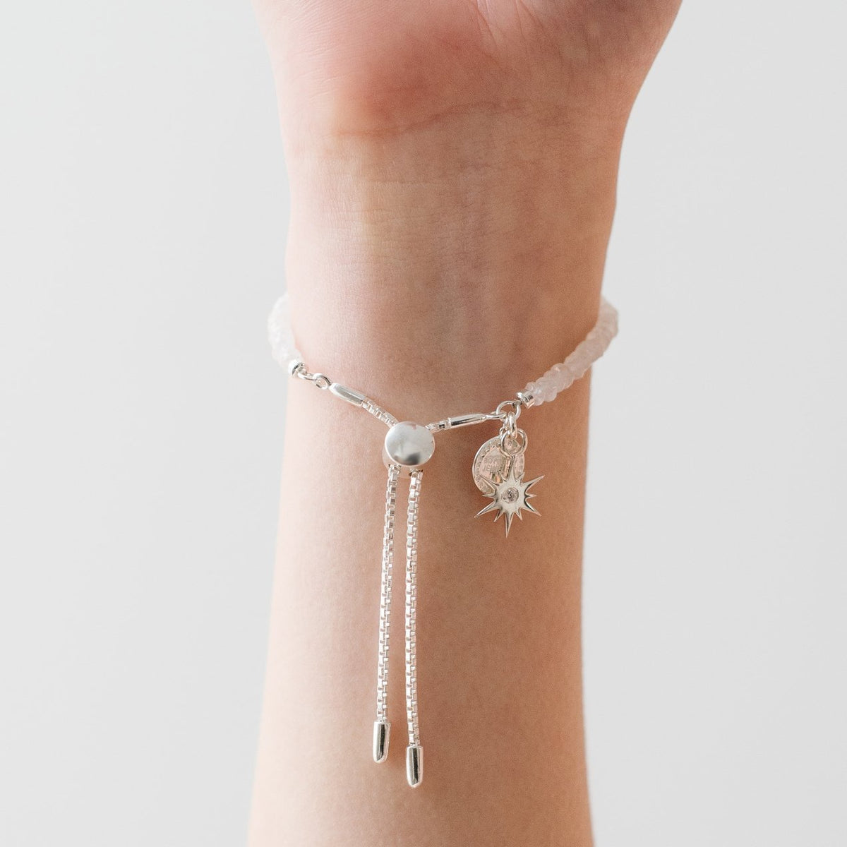 ICONIC ADJUSTABLE BRACELET - RAINBOW MOONSTONE & SILVER - SO PRETTY CARA COTTER