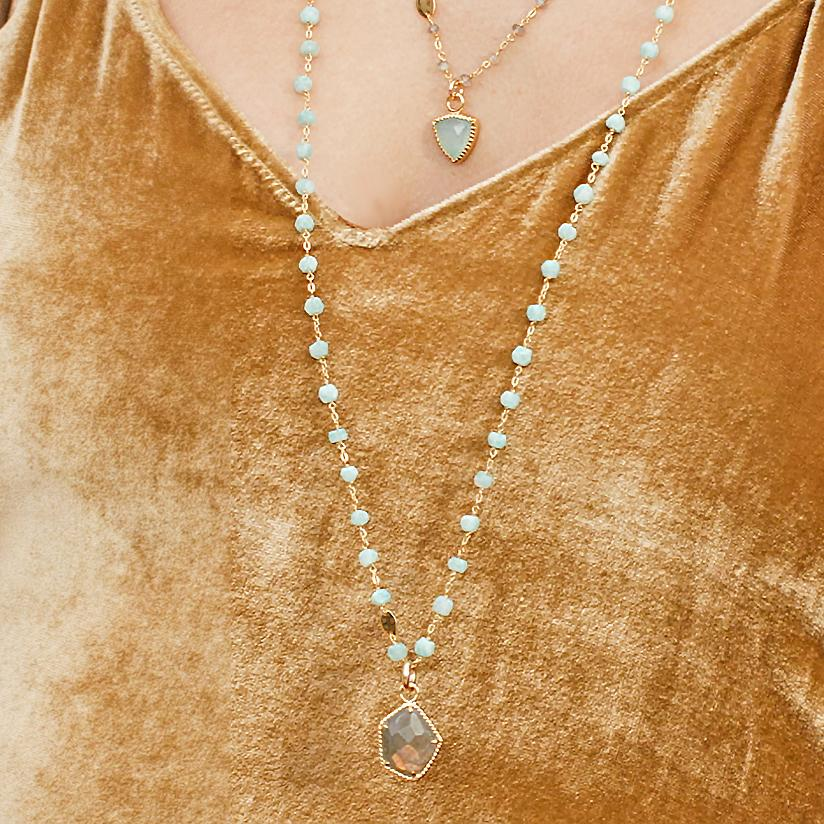 "ICONIC LONG BEADED NECKLACE - AQUA AMAZONITE & GOLD 34"" - SO PRETTY CARA COTTER"