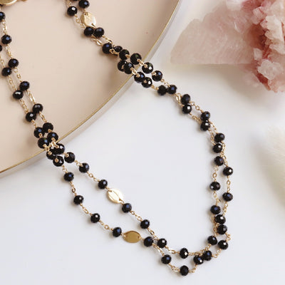 "ICONIC LONG BEADED NECKLACE - BLACK ONYX & GOLD 34"" - SO PRETTY CARA COTTER"
