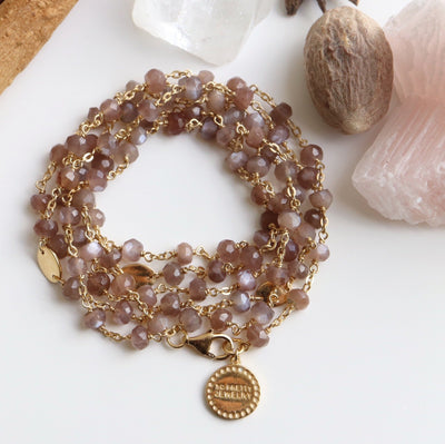"ICONIC LONG BEADED NECKLACE - CHAI MOONSTONE & GOLD 34""- LIMITED EDITION - SO PRETTY CARA COTTER"
