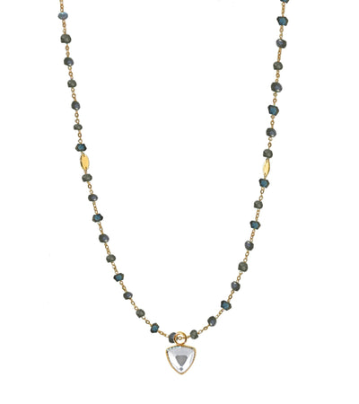 "ICONIC LONG BEADED NECKLACE - LABRADORITE & GOLD 34"" - SO PRETTY CARA COTTER"