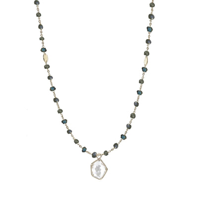 "ICONIC LONG BEADED NECKLACE - LABRADORITE & SILVER 34"" - SO PRETTY CARA COTTER"