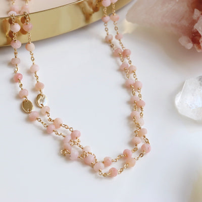 "ICONIC LONG BEADED NECKLACE - PINK OPAL & GOLD 34"" - SO PRETTY CARA COTTER"