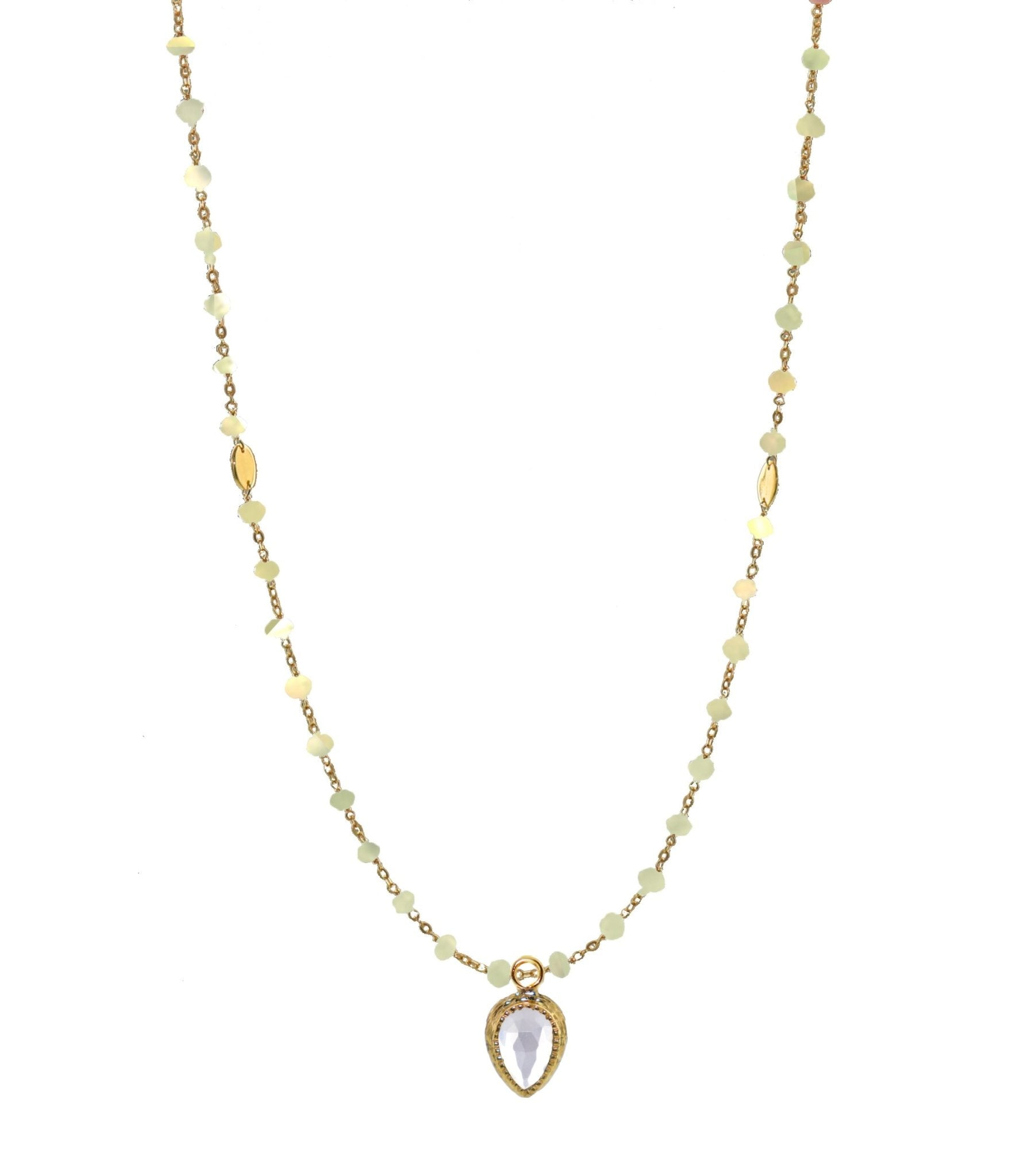 "ICONIC LONG BEADED NECKLACE - RAINBOW MOONSTONE & GOLD 34"" - SO PRETTY CARA COTTER"