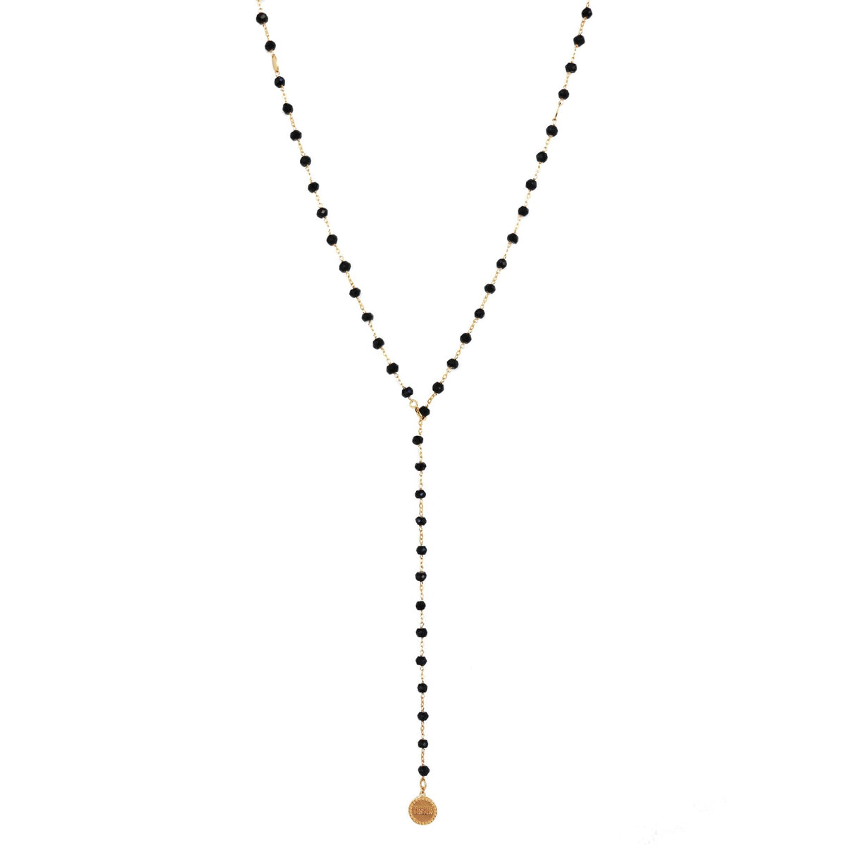 "ICONIC MIDI BEADED NECKLACE - BLACK ONYX & GOLD 24-25"" - SO PRETTY CARA COTTER"