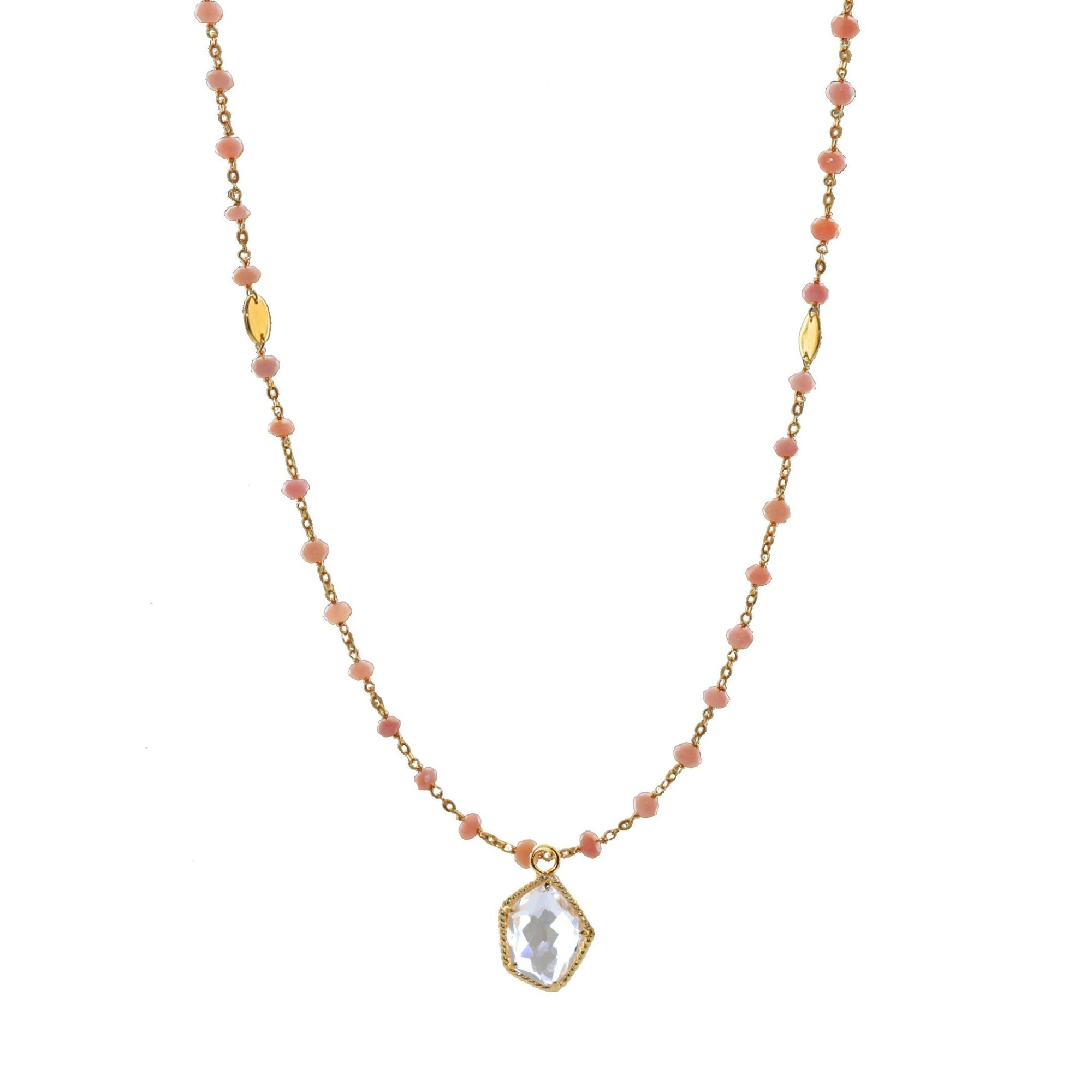 "ICONIC MIDI BEADED NECKLACE - PINK OPAL & GOLD 24-25"" - SO PRETTY CARA COTTER"