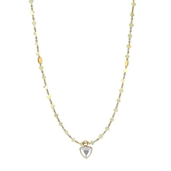 "ICONIC MIDI BEADED NECKLACE - RAINBOW MOONSTONE & GOLD 24-25"" - SO PRETTY CARA COTTER"