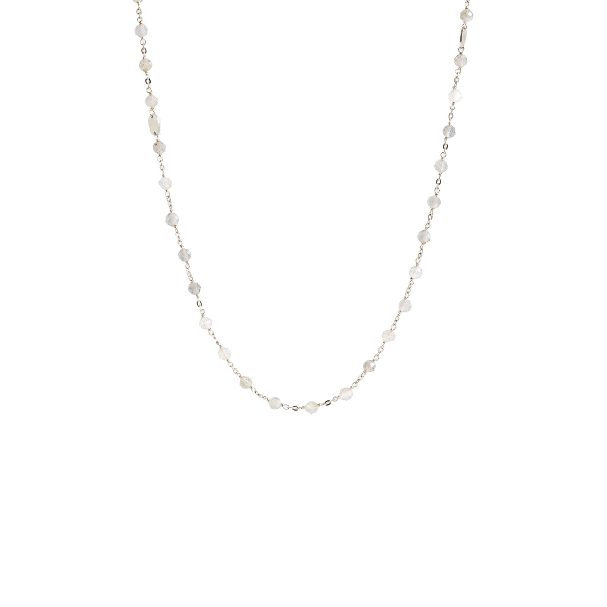 "ICONIC MIDI BEADED NECKLACE - RAINBOW MOONSTONE & SILVER 24-25"" - SO PRETTY CARA COTTER"