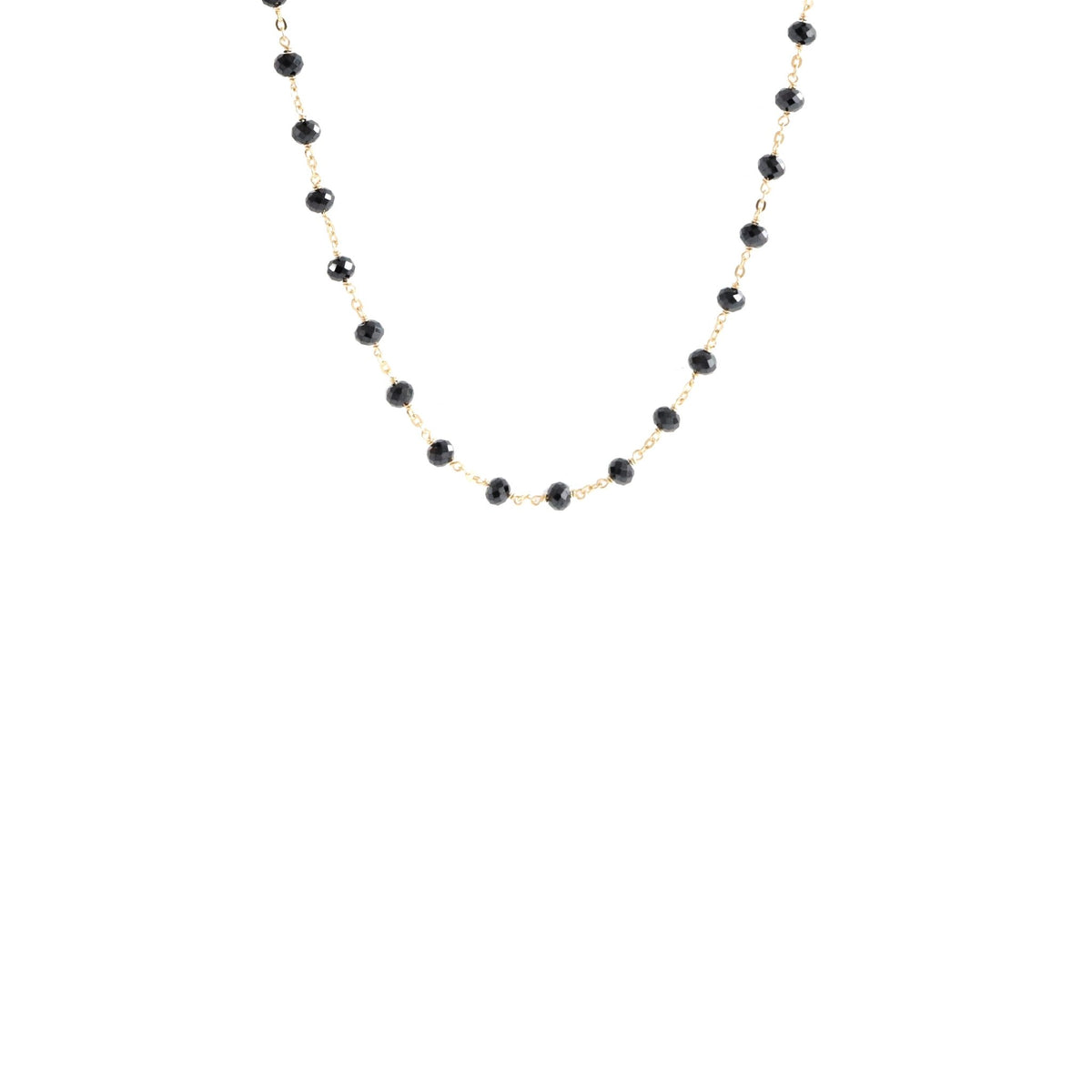 "ICONIC SHORT BEADED NECKLACE - BLACK ONYX & GOLD 16-20"" - SO PRETTY CARA COTTER"
