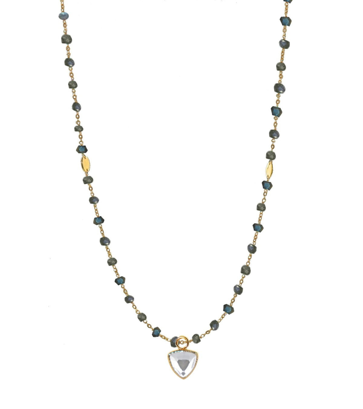 "ICONIC SHORT BEADED NECKLACE - LABRADORITE & GOLD 16-20"" - SO PRETTY CARA COTTER"