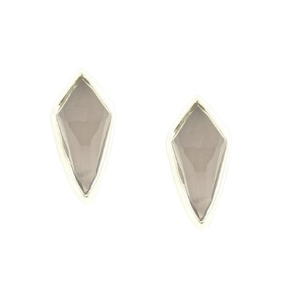 MIDI BRAVE STUD EARRINGS - GREY MOONSTONE & SILVER - LIMITED EDITION