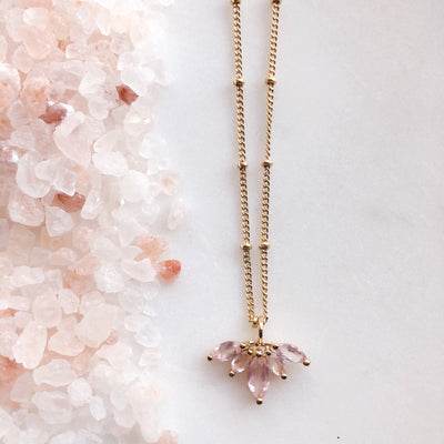 UNITY CROWN NECKLACE - PINK QUARTZ & GOLD - LIMITED EDITION