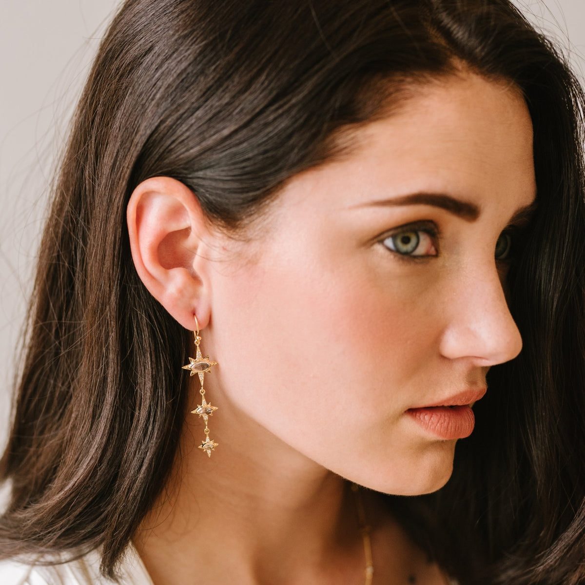 IMAGINE DROP TRIO EARRINGS - WHITE TOPAZ, CUBIC ZIRCONIA & GOLD - SO PRETTY CARA COTTER