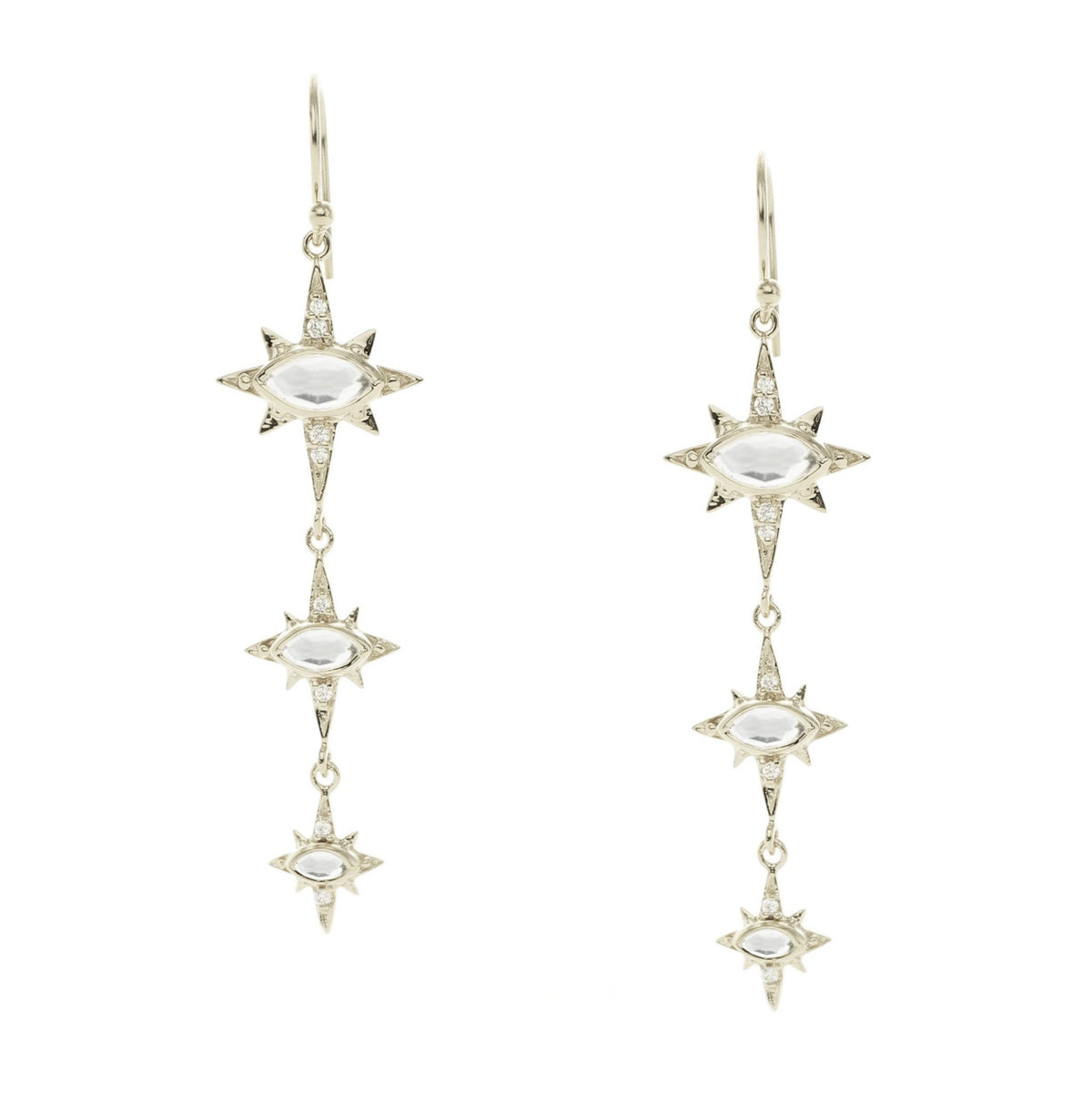 IMAGINE DROP TRIO EARRINGS - WHITE TOPAZ, CUBIC ZIRCONIA & SILVER - SO PRETTY CARA COTTER