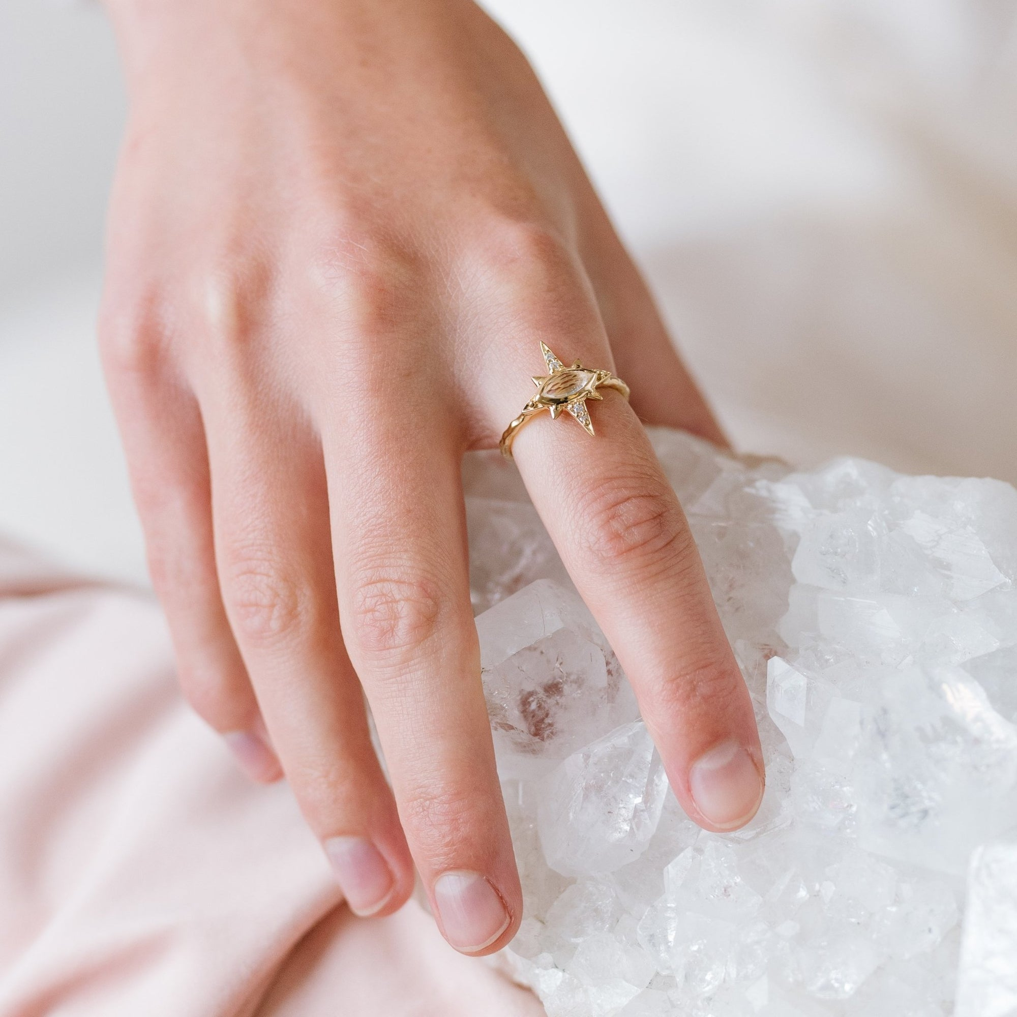 IMAGINE RING - WHITE TOPAZ, CUBIC ZIRCONIA & GOLD - SO PRETTY CARA COTTER