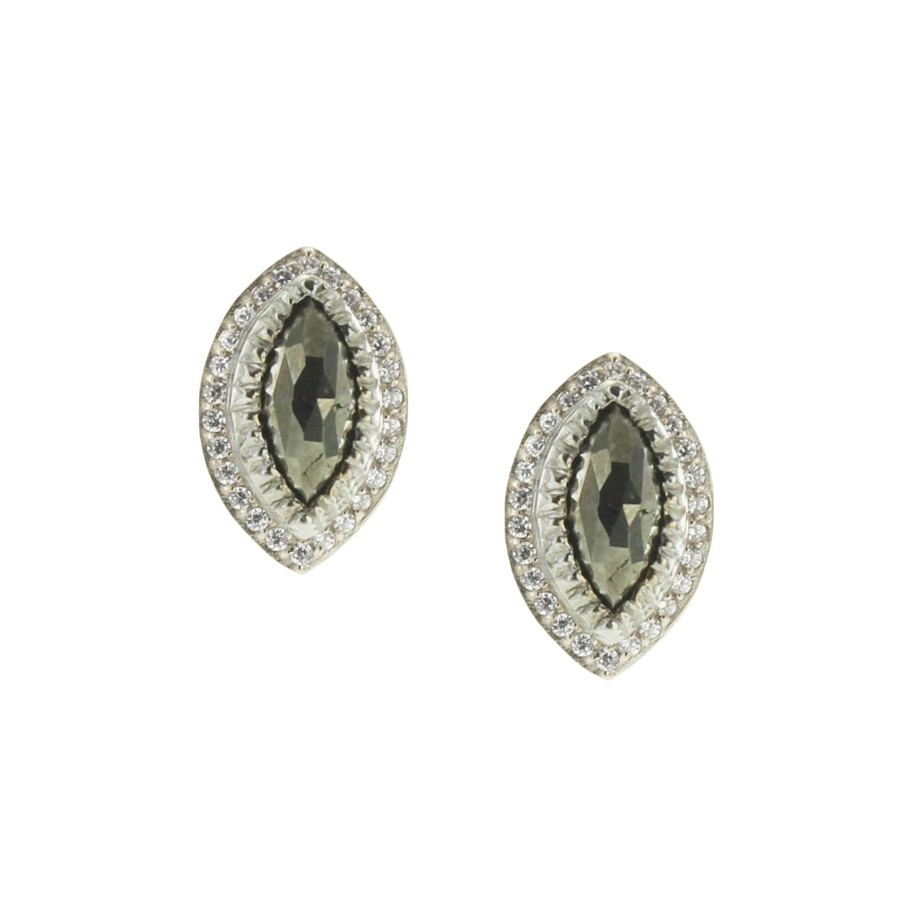 IMAGINE STUDS - METALLIC PYRITE, CUBIC ZIRCONIA, & SILVER - SO PRETTY CARA COTTER