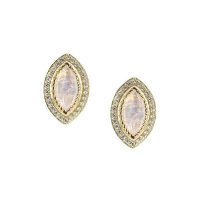 IMAGINE STUDS - RAINBOW MOONSTONE, CUBIC ZIRCONIA, & GOLD - SO PRETTY CARA COTTER