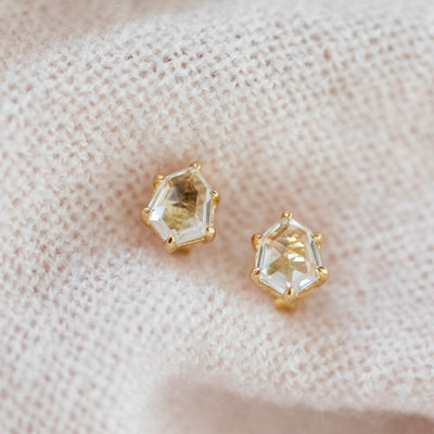 JH X SP MINI HONOUR STUD EARRINGS - CRYSTALLINE QUARTZ & GOLD - SO PRETTY CARA COTTER