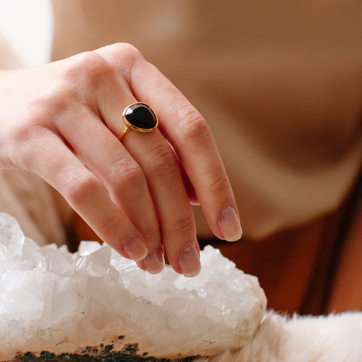 JOY RING - BLACK ONYX & GOLD - SO PRETTY CARA COTTER