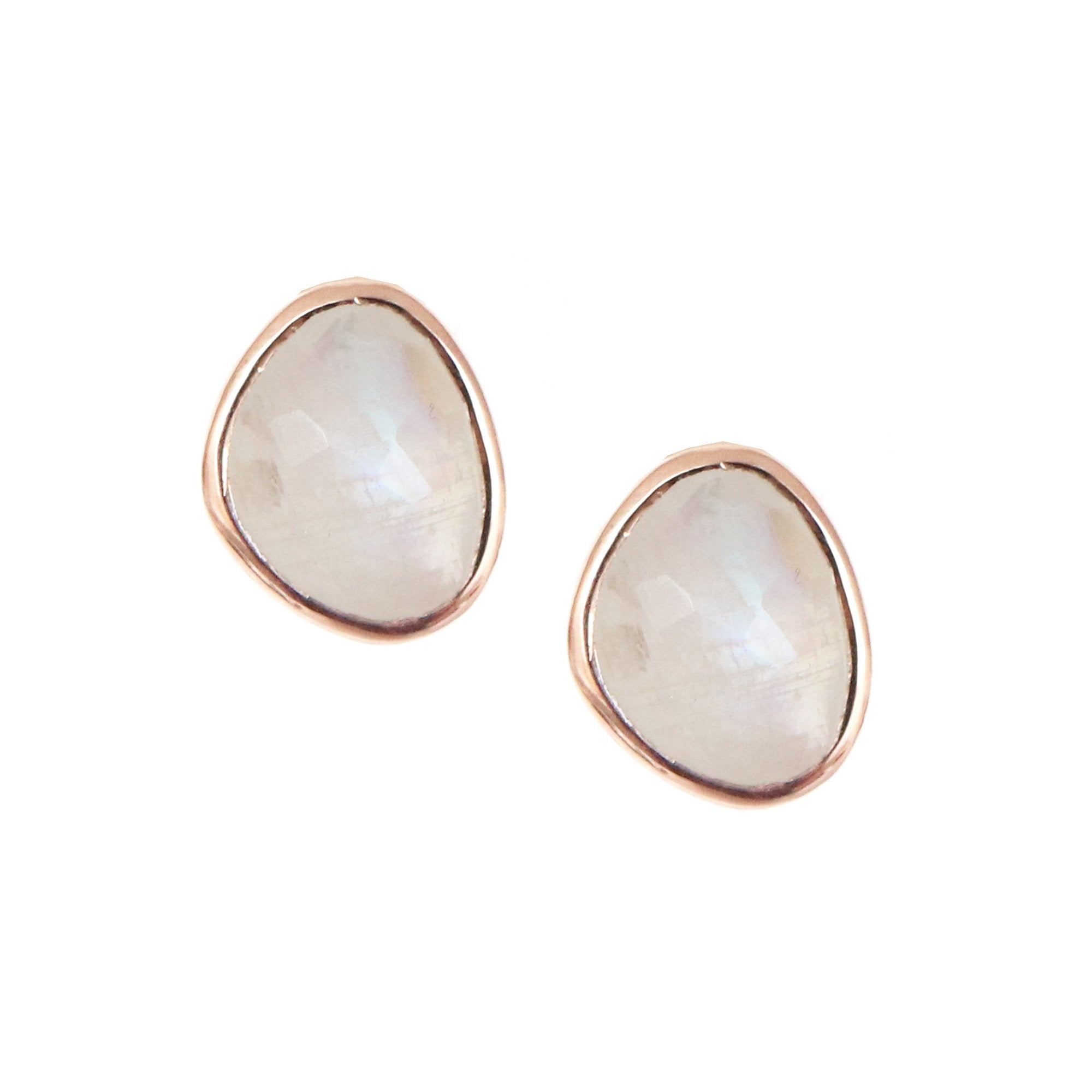 JOY STUDS - RAINBOW MOONSTONE & ROSE GOLD - SO PRETTY CARA COTTER