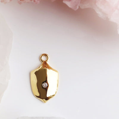 LEGACY APRIL BIRTHSTONE SHIELD ICON - DIAMOND & GOLD - SO PRETTY CARA COTTER