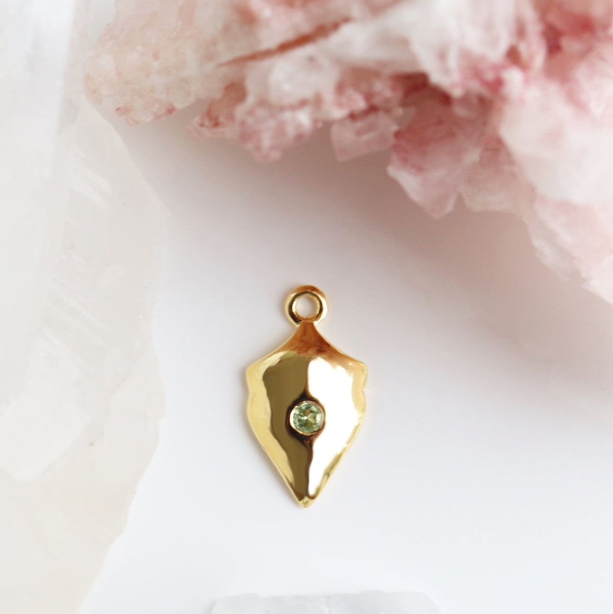 LEGACY AUGUST BIRTHSTONE SHIELD ICON - PERIDOT & GOLD - SO PRETTY CARA COTTER