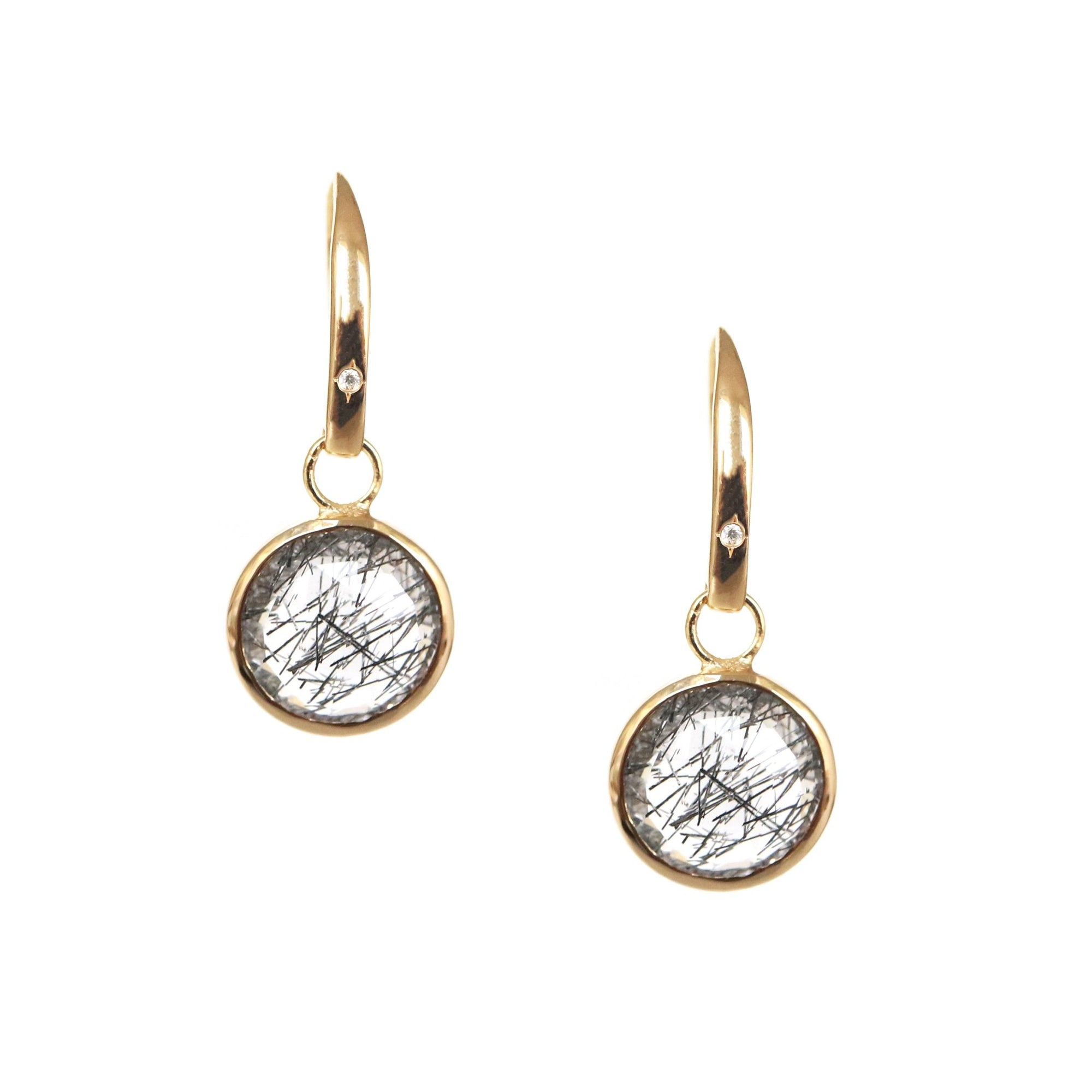 LEGACY DROP EARRINGS - BLACK RUTILATED QUARTZ, CUBIC ZIRCONIA & GOLD - SO PRETTY CARA COTTER