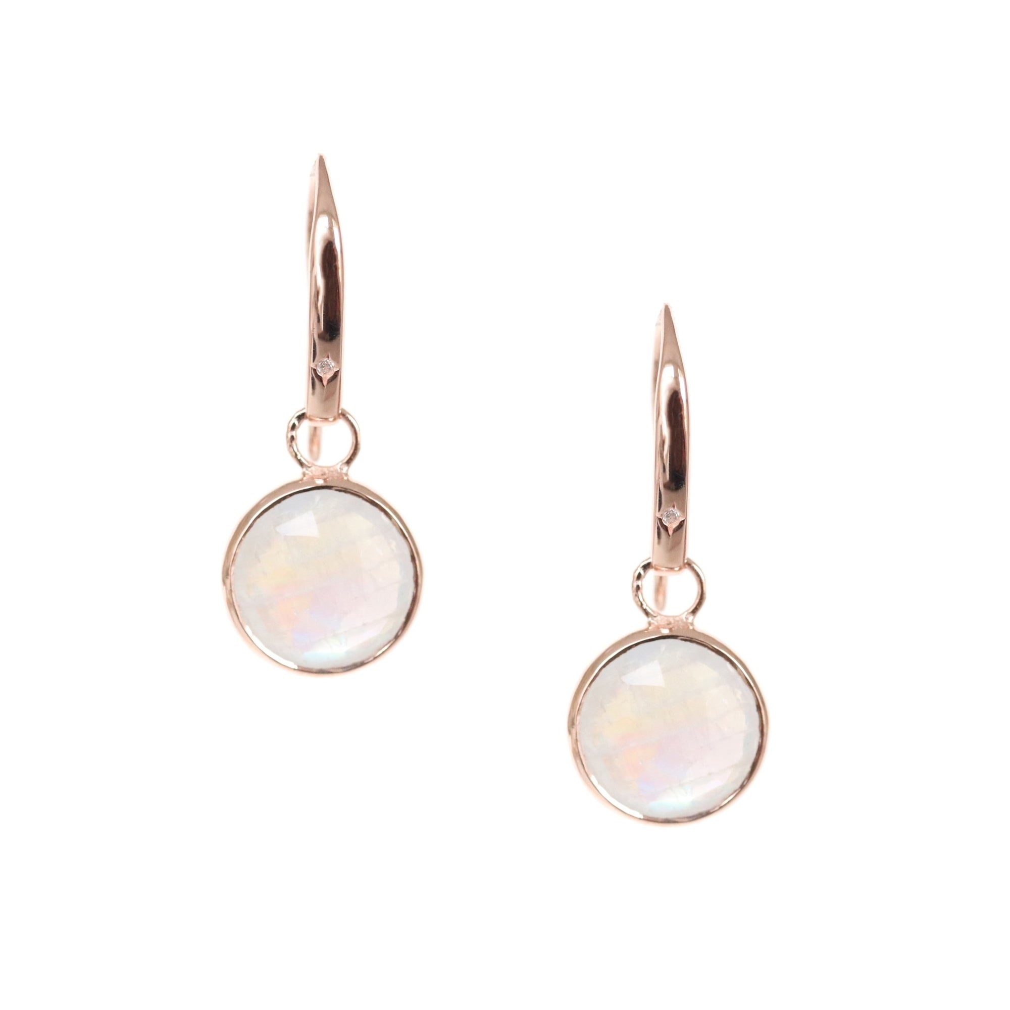 LEGACY DROP EARRINGS - RAINBOW MOONSTONE, CUBIC ZIRCONIA & ROSE GOLD - SO PRETTY CARA COTTER