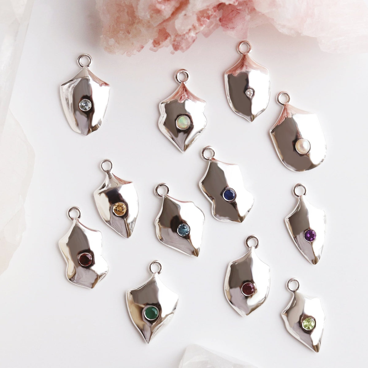 LEGACY JANUARY BIRTHSTONE SHIELD ICON - GARNET & SILVER - SO PRETTY CARA COTTER