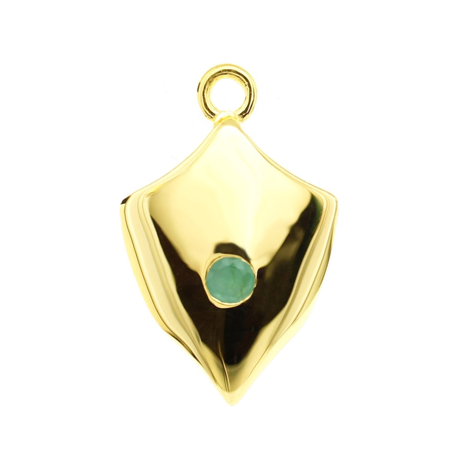LEGACY MAY BIRTHSTONE SHIELD ICON - EMERALD & GOLD - SO PRETTY CARA COTTER