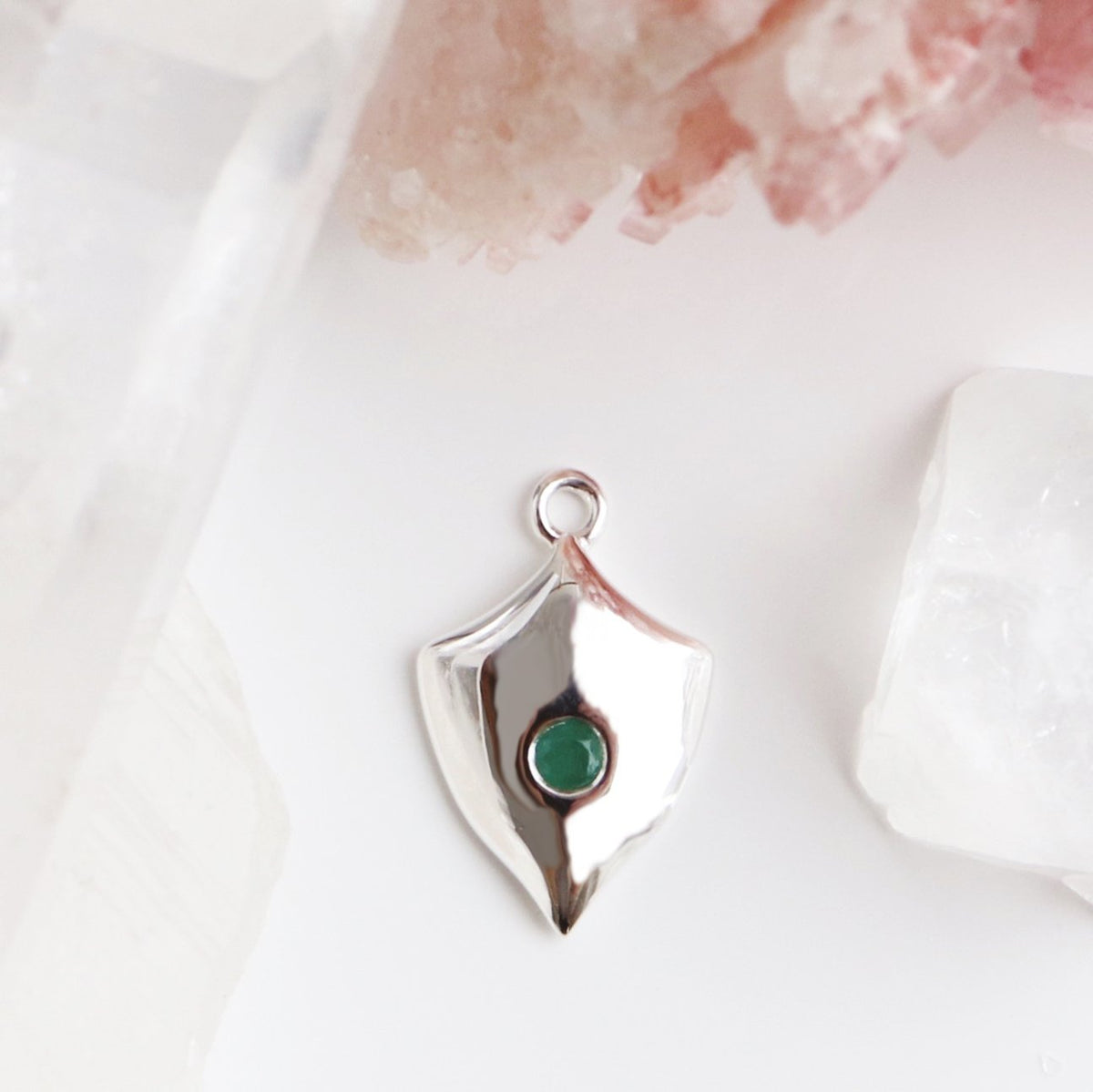 LEGACY MAY BIRTHSTONE SHIELD ICON - EMERALD & SILVER - SO PRETTY CARA COTTER