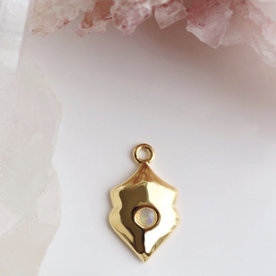 LEGACY OCTOBER BIRTHSTONE SHIELD ICON - OPAL & GOLD - SO PRETTY CARA COTTER