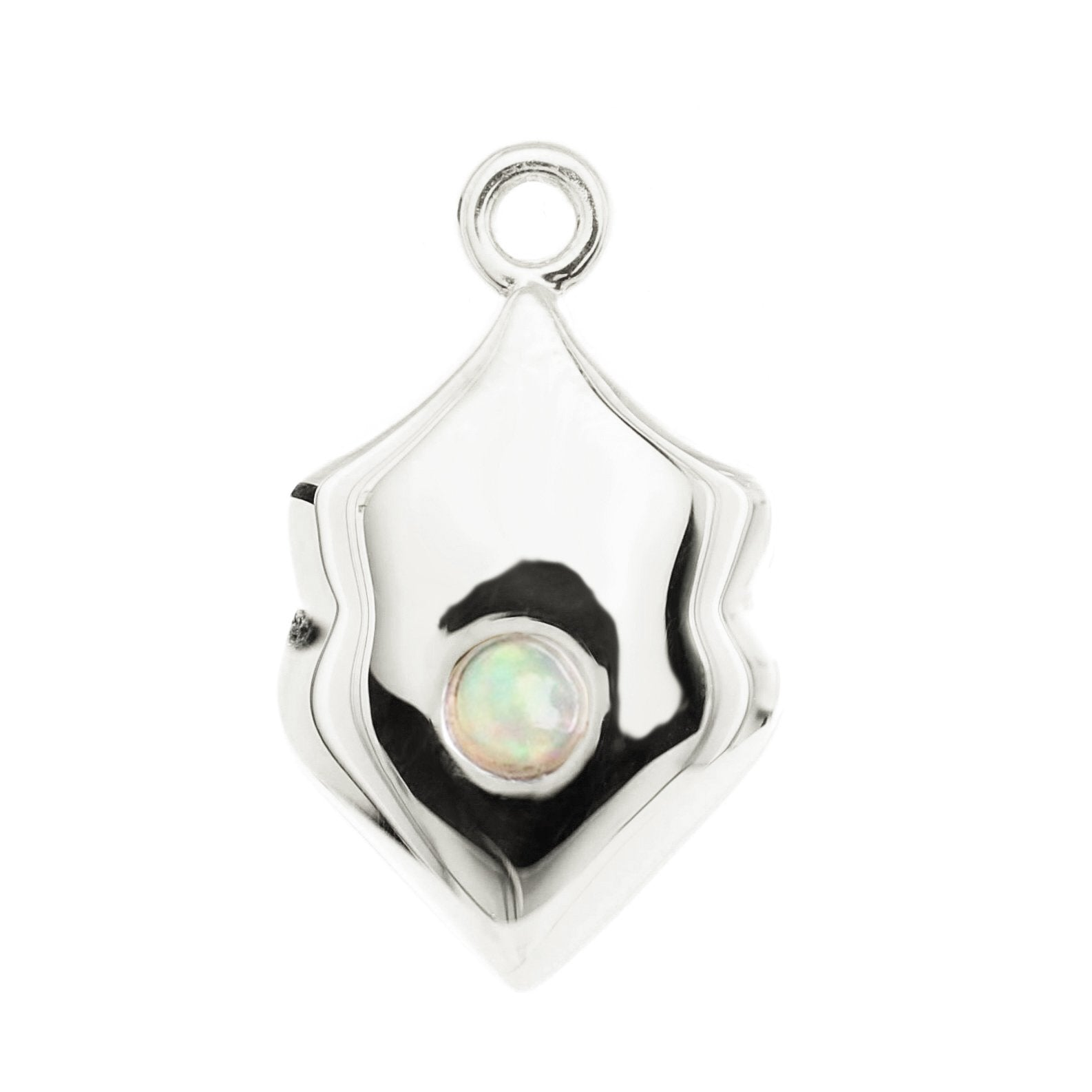 LEGACY OCTOBER BIRTHSTONE SHIELD ICON - OPAL & SILVER - SO PRETTY CARA COTTER