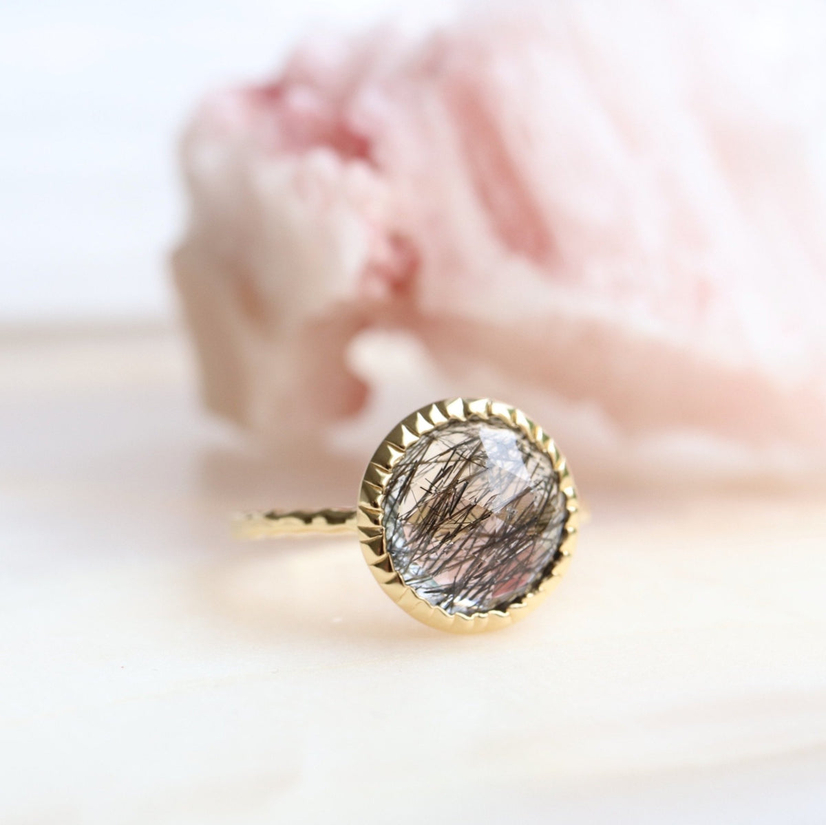LEGACY RING - BLACK RUTILE QUARTZ & GOLD - SO PRETTY CARA COTTER