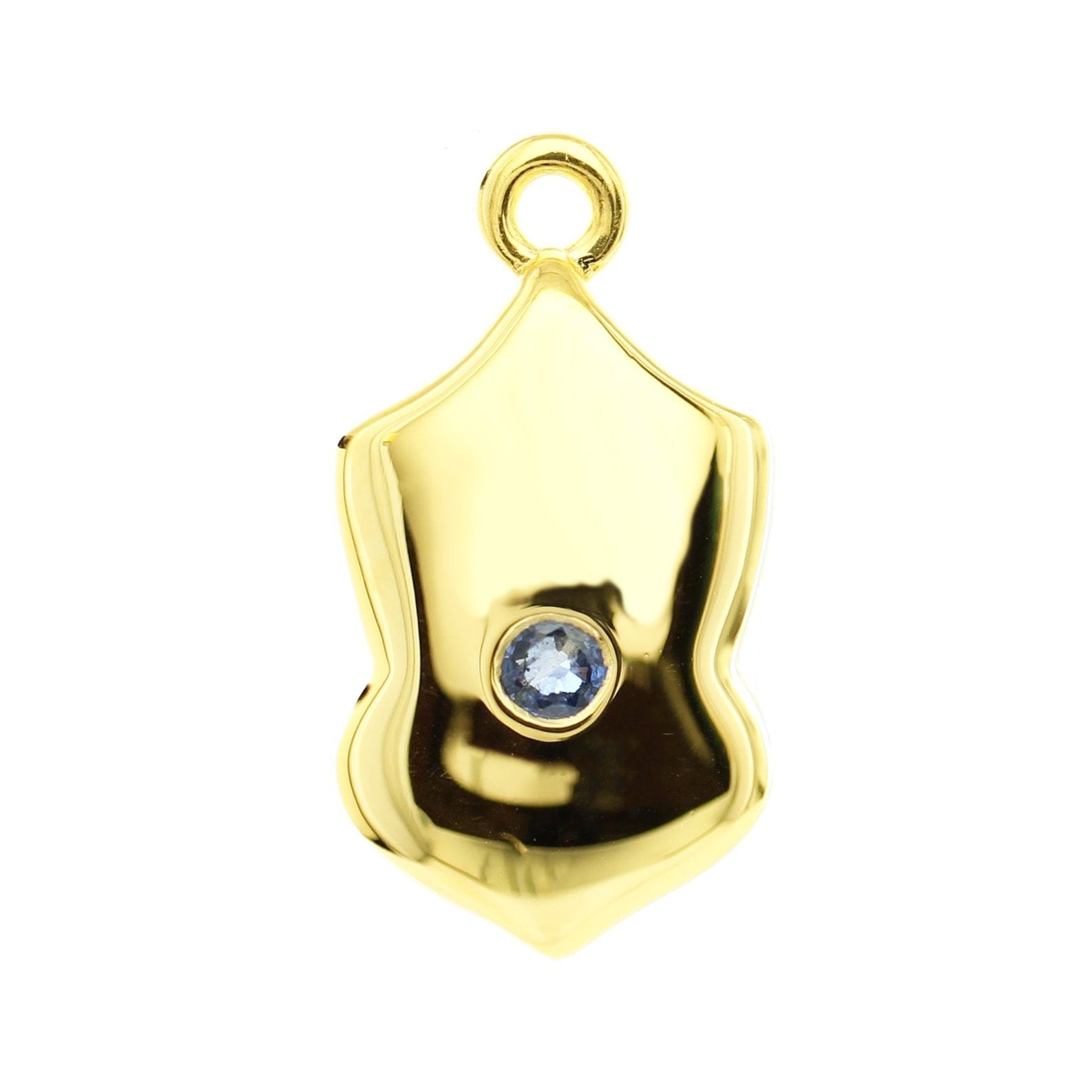 LEGACY SEPTEMBER BIRTHSTONE SHIELD ICON - SAPPHIRE & GOLD - SO PRETTY CARA COTTER