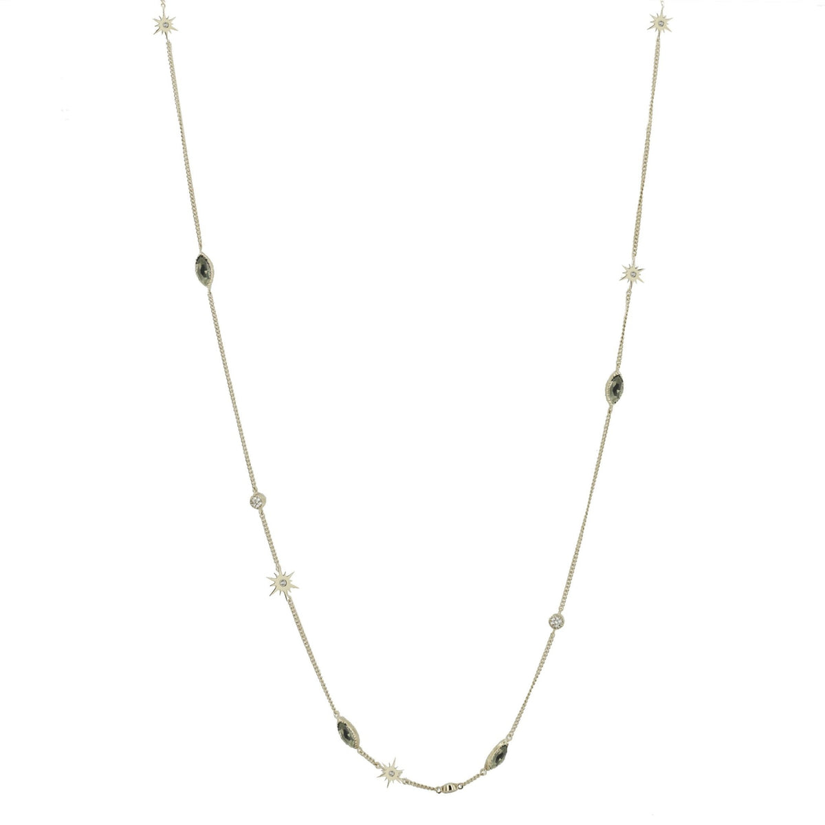 LONG BELIEVE CHOKER NECKLACE - METALLIC PYRITE, CUBIC ZIRCONIA & SILVER - SO PRETTY CARA COTTER