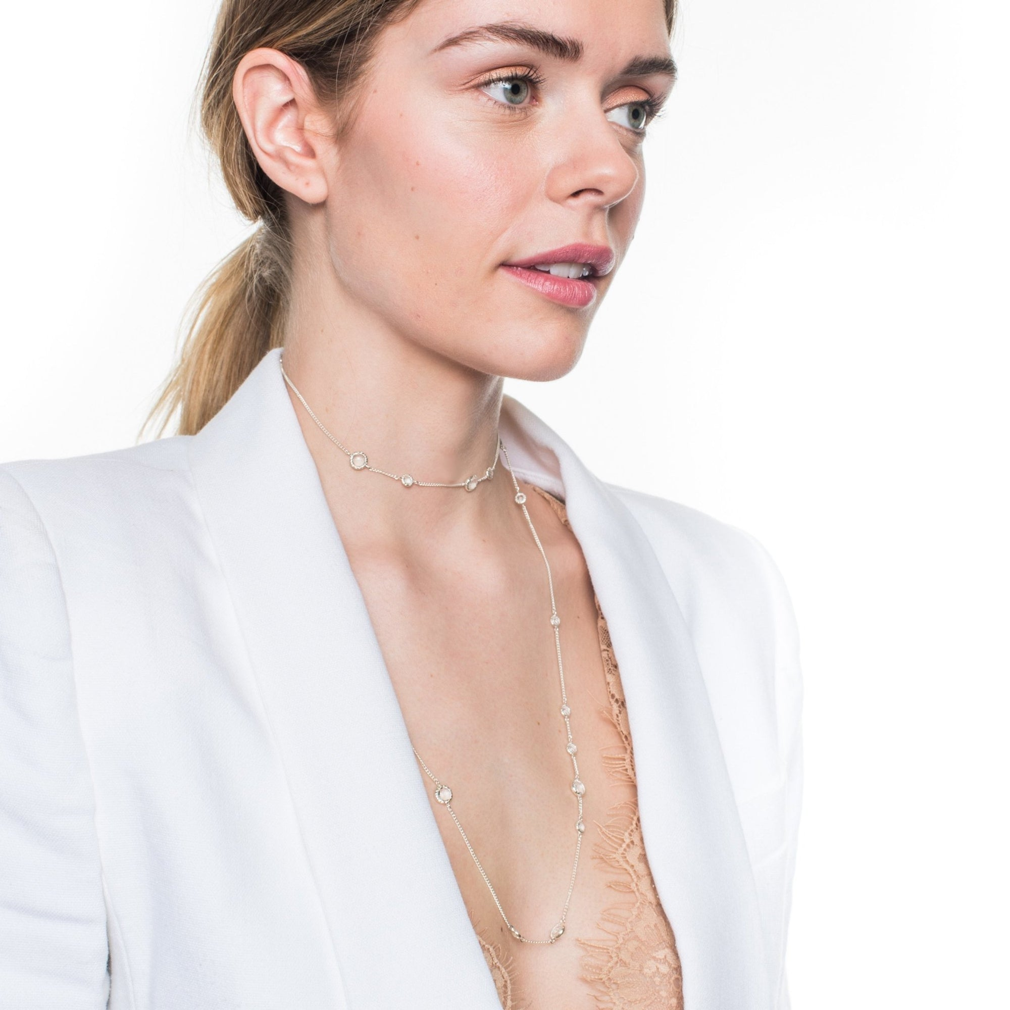 LONG LEGACY CHOKER NECKLACE - WHITE TOPAZ & SILVER - SO PRETTY CARA COTTER