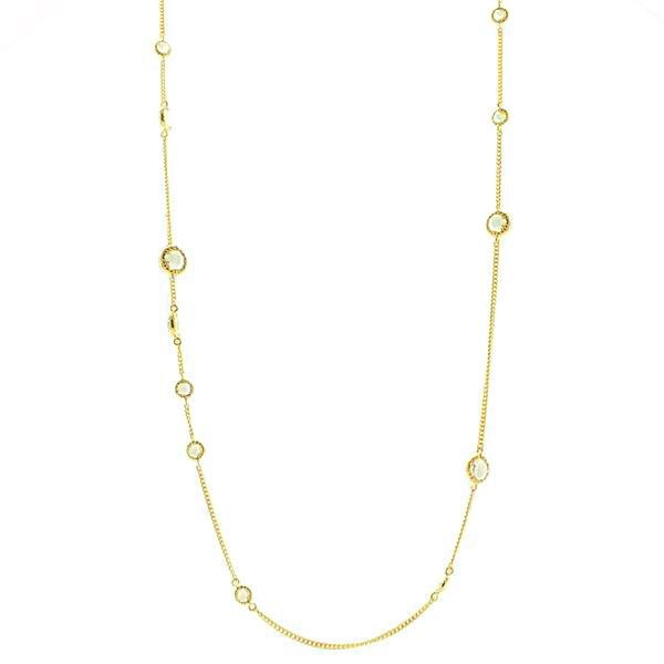LONG LEGACY NECKLACE - WHITE TOPAZ & GOLD - SO PRETTY CARA COTTER