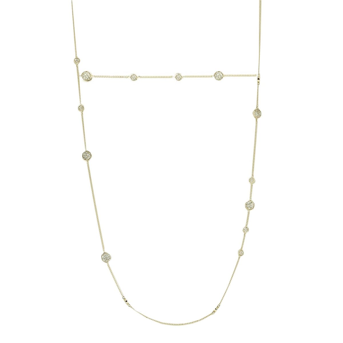 LONG XO LOVE CHOKER NECKLACE - CUBIC ZIRCONIA & SILVER - SO PRETTY CARA COTTER