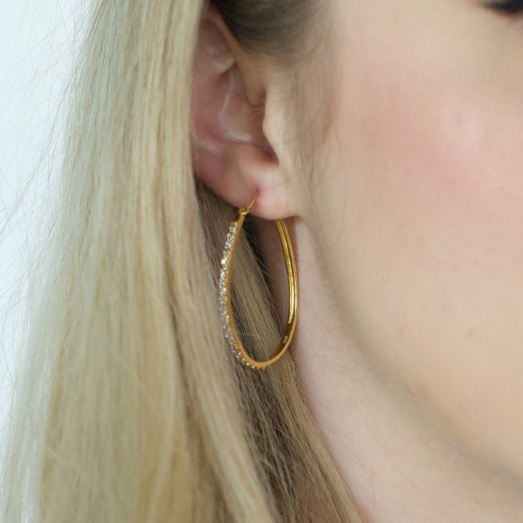 LOVE HOOP EARRINGS - CUBIC ZIRCONIA & GOLD - SO PRETTY CARA COTTER