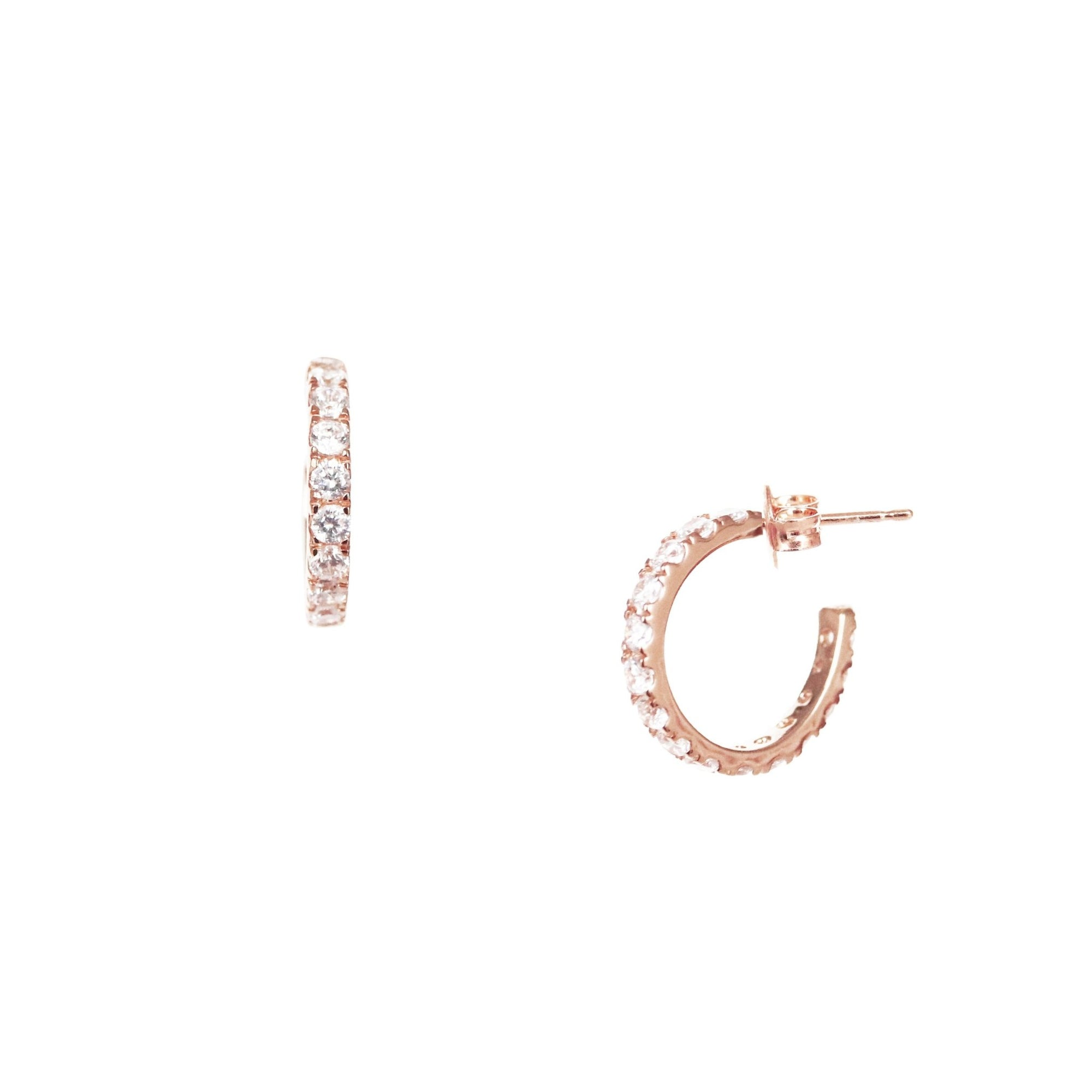 LOVE HUGGIE HOOPS - CUBIC ZIRCONIA & ROSE GOLD - SO PRETTY CARA COTTER