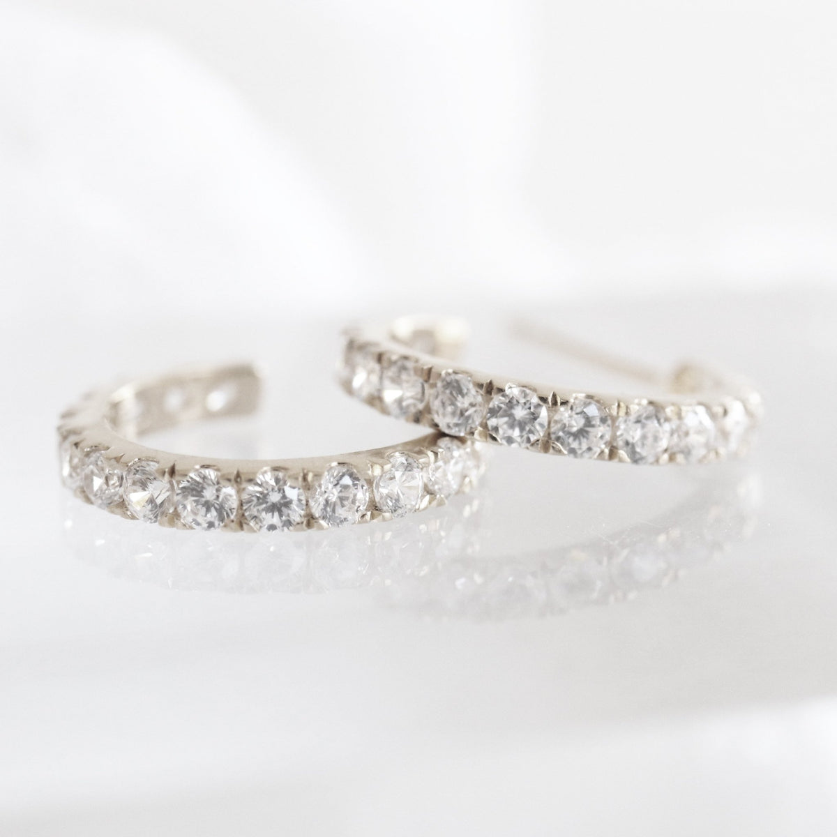 LOVE HUGGIE HOOPS - CUBIC ZIRCONIA & SILVER - SO PRETTY CARA COTTER