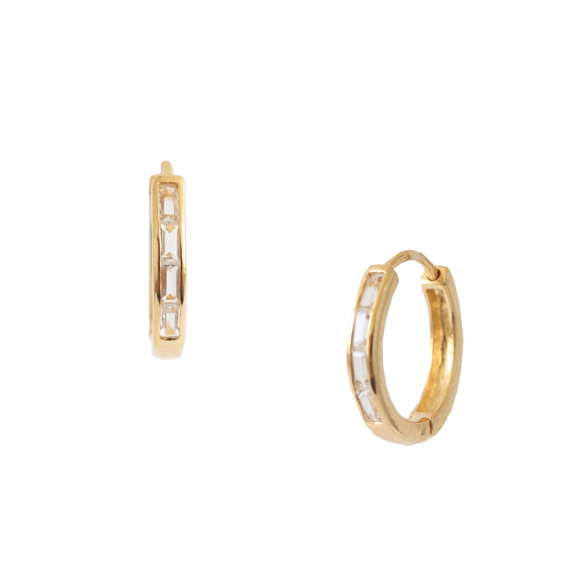 Loyal Channel Huggie Hoops - White Topaz & Gold - SO PRETTY CARA COTTER