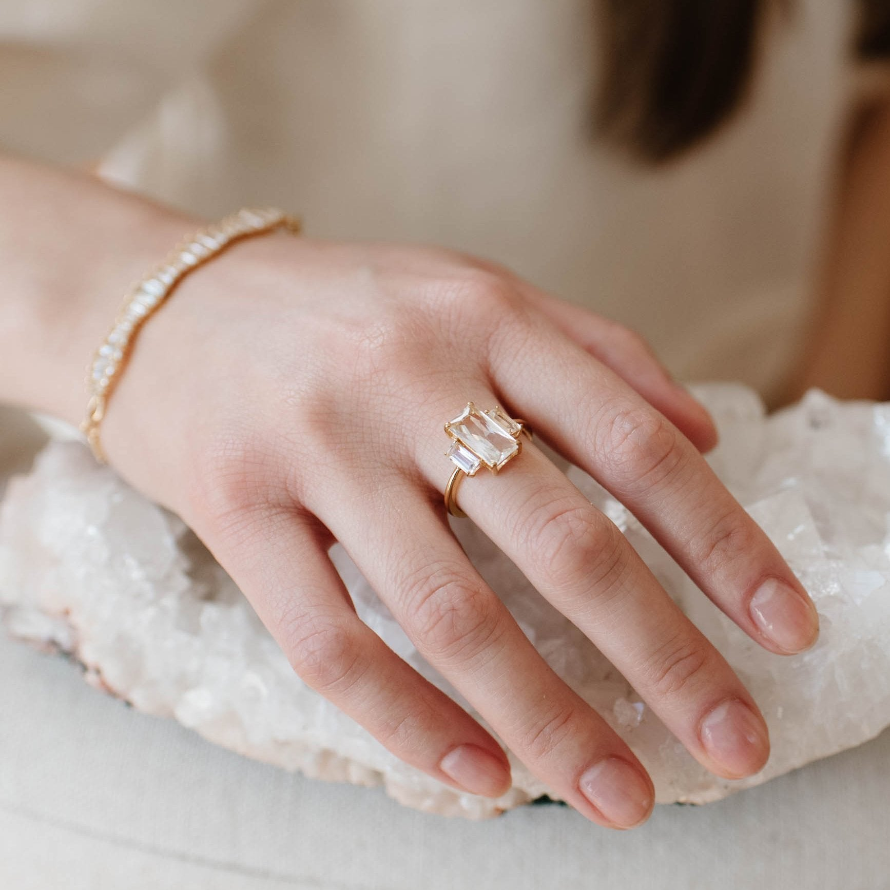 Loyal Cocktail Ring - White Topaz & Gold - SO PRETTY CARA COTTER