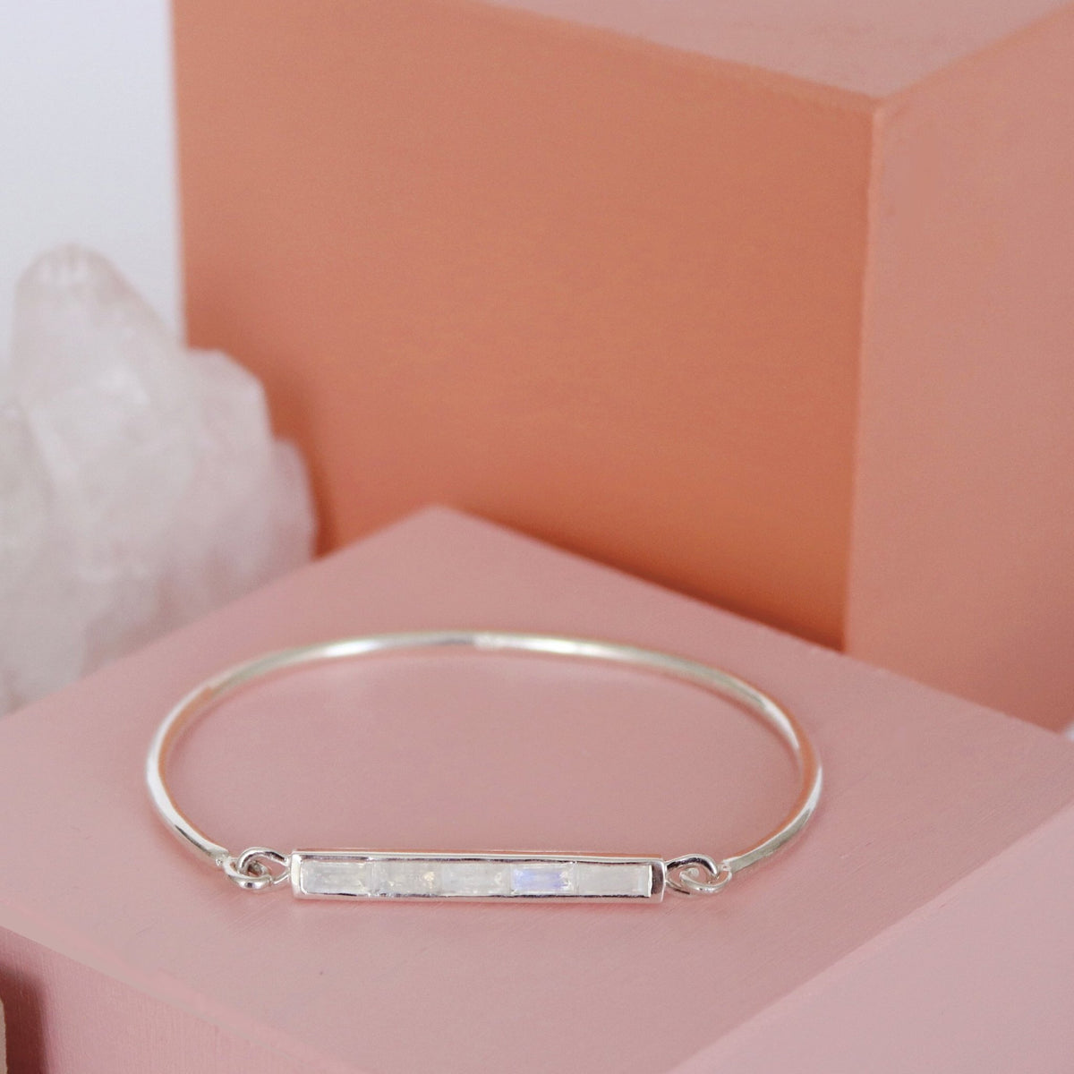 LOYAL CUFF - RAINBOW MOONSTONE & SILVER - SO PRETTY CARA COTTER