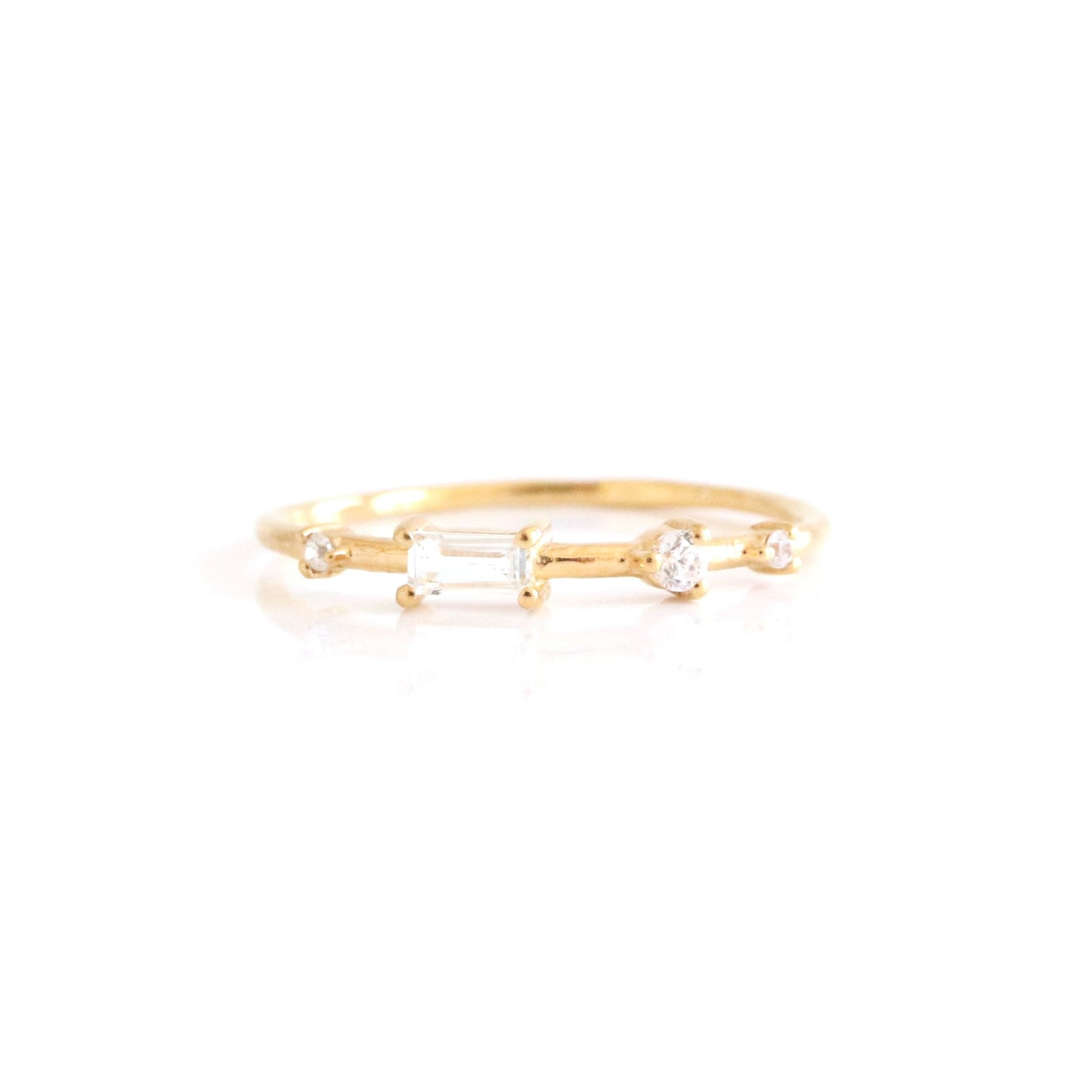 Loyal Dancing Stacking Ring - White Topaz, Cubic Zirconia & Gold - SO PRETTY CARA COTTER