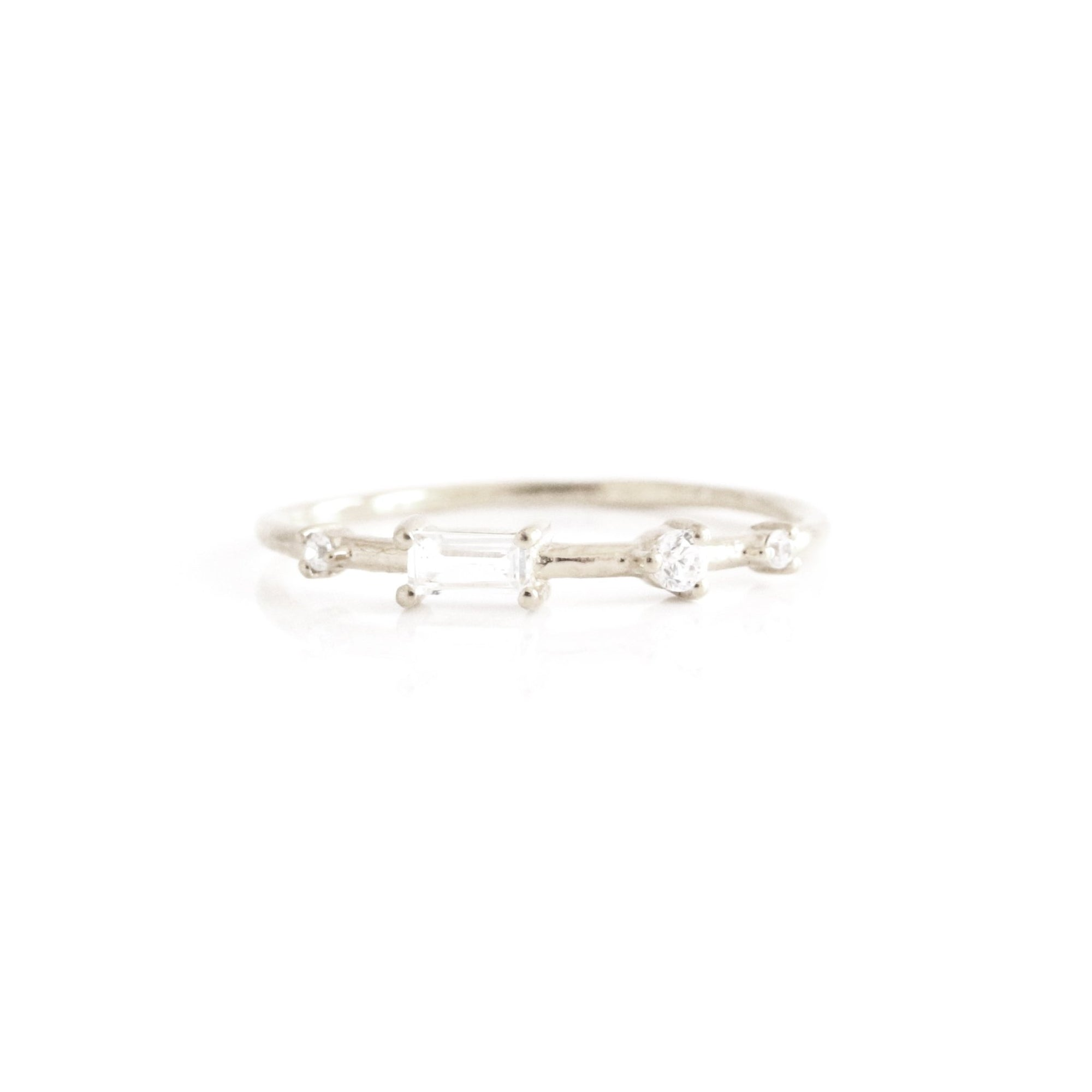 Loyal Dancing Stacking Ring - White Topaz, Cubic Zirconia & Silver - SO PRETTY CARA COTTER