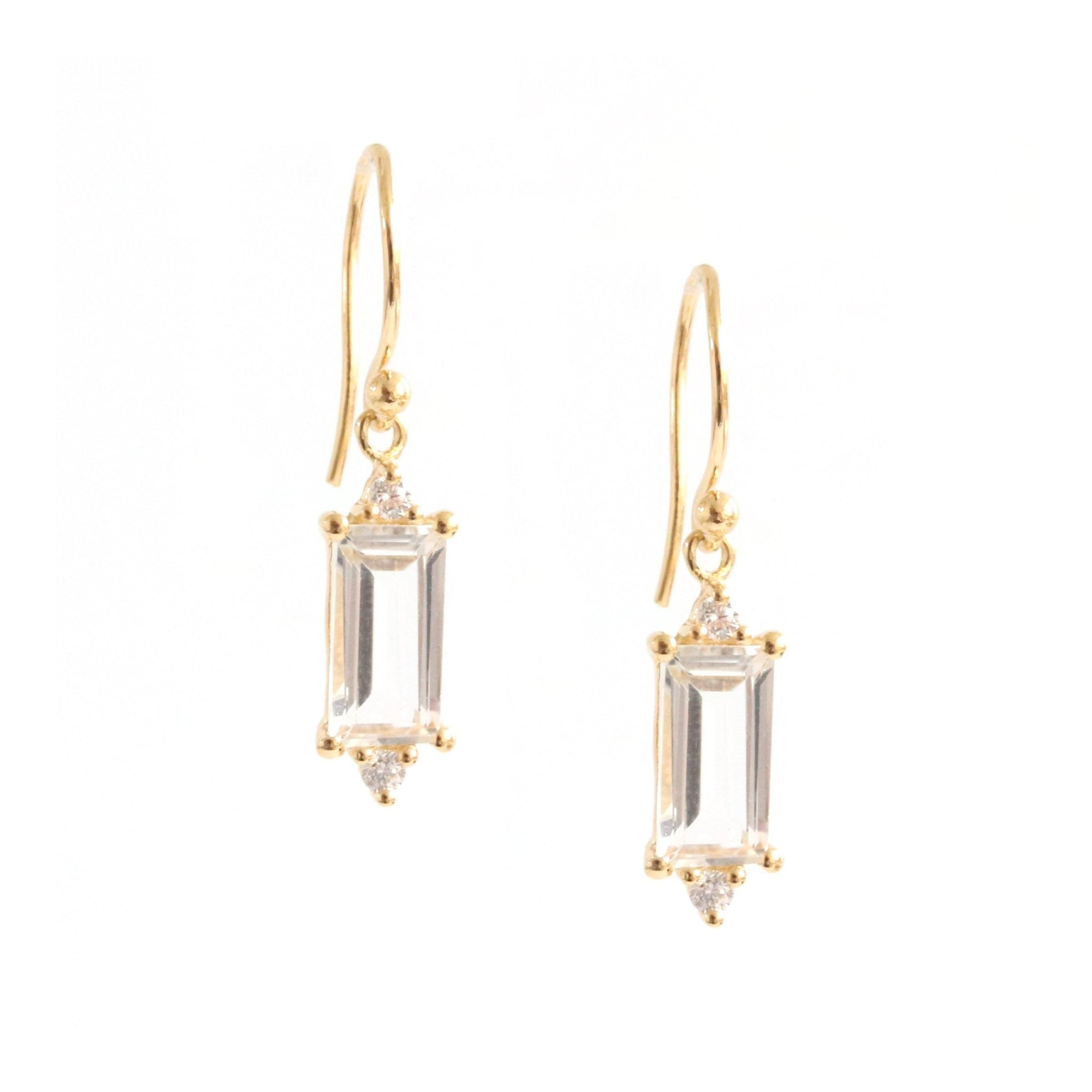 Loyal Drop Earrings - White Topaz, Cubic Zirconia & Gold - SO PRETTY CARA COTTER